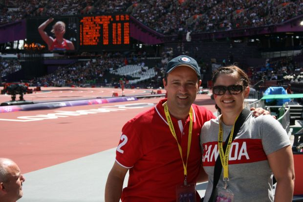 My husband and me at Olympic Stadium.  We were seated in the second row the morning of August 4th, around the 55m mark.  Amazing seats.